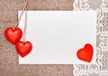 Valentine card with drawing red heart on lace and burlap background Stock Photo