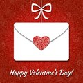 Valentine card with envelope and elegant heart on floral background Stock Image