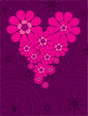 Valentine card with floral heart Royalty Free Stock Image