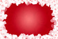 Valentine card frame of many hearts over red background Royalty Free Stock Images