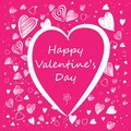 Valentine card hand drawn with pink background Royalty Free Stock Images