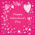 Valentine card hand drawn with pink background Stock Photo