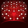 Valentine card with heart and blooming tree Royalty Free Stock Images