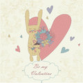 Valentine card with heart and cute rabbit with bouquet Stock Photo