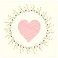 Valentine card with heart and floral frame cute Royalty Free Stock Image