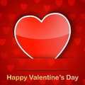 Valentine card with a heart placed on red background Royalty Free Stock Photo
