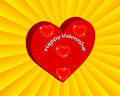 Valentine card with hearts on a yellow background Royalty Free Stock Image