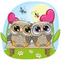 Valentine card with Owls on a bench