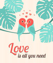 Valentine Card With Parrots. V...