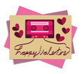 Valentine card picture cassette tape Royalty Free Stock Photo