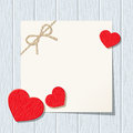 Valentine card with red hearts on a blue wooden background. Vector eps-10. Royalty Free Stock Photo