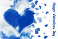 Valentine card, shape of a heart in a blue sky Royalty Free Stock Photo