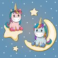 Valentine card with two Unicorns on a moon and star