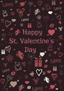 Valentine card vector illustration of decorated with sketched st valentine's day symbols Stock Photos