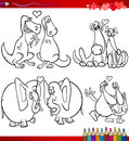 Valentine cartoon themes for coloring valentines day and love collection set of black and white illustrations with animals couples Stock Photos