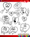 Valentine cartoon themes for coloring valentines day and love collection set of black and white illustrations with hearts book Stock Images