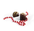 Valentine chocolates ii hand made on white muslin copy space Royalty Free Stock Photo