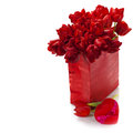 Valentine composition with shopping bag and red tulips Royalty Free Stock Photo
