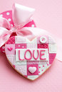 Valentine cookie heart shaped for valentines day Royalty Free Stock Image