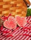 Valentine cookies picnic basket Fotografía de archivo libre de regalías