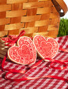 Valentine cookies picnic basket heart shaped on red and white checked cloth and leaning against wicker green grass in background Royalty Free Stock Photography