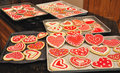 Valentine cookies variety of home baked and decorated Stock Image