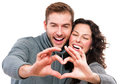 Valentine couple girl and her boyfriend making shape of heart Royalty Free Stock Photo