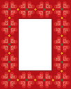 Valentine Cross stitch hearts frame Stock Photo