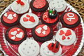 Valentine cupcakes assorted romantic red on plate Royalty Free Stock Photography