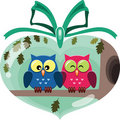 Valentine cute owls Royalty Free Stock Image