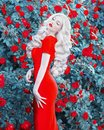 Valentine Day background. Blonde model in red dress. Young slim retro girl with red lips in sexy dress in beautiful summer roses Royalty Free Stock Photo
