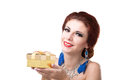 Valentine day beauty young beautiful girl with golden gift box Royalty Free Stock Images