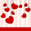 Valentine day card with hanged hearts on stripped background Royalty Free Stock Photo