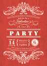 Valentine day card party invitation with vintage frame on red board background Royalty Free Stock Photo