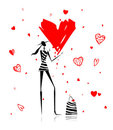 Valentine day. Fashion girl with big red heart Royalty Free Stock Photo