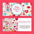 Valentine day flat style vector template banners set design illustration of brand identity for love holiday promotion colorful Stock Photos
