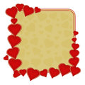 Valentine day frame of hearts gold background vector Royalty Free Stock Photo