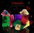 Valentine day gifts in beautiful holidays card Stock Photography