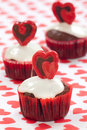 Valentine Day Heart Cupcake Stock Photography