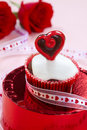 Valentine Day Heart Cupcake Stock Image