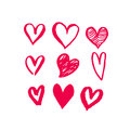 Valentine Day hearts sketch icons pattern vector art Royalty Free Stock Photo