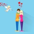 Valentine day holiday couple embrace hjärta shape Arkivbild