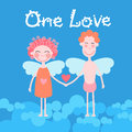 Valentine Day Holiday Couple Heart Shape, Man and Woman Angels Hold Gift Royalty Free Stock Photo