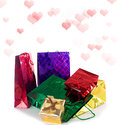 Valentine day holidays colorful gifts on a white Royalty Free Stock Photo