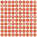 100 valentine day icons hexagon orange