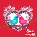 Valentine Day PinkBlue Birds Love in the Air Vector Image Royalty Free Stock Photo