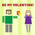 Valentine day postcard with square boy and girl giving flower to Royalty Free Stock Photography