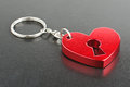 Valentine day present red heart shape fob Stock Images