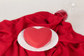 Valentine day table setting the dinner with hard Royalty Free Stock Photos