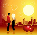 Valentine day, urban scene, couple Stock Image